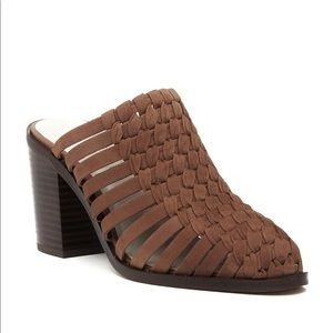1.State Licha Brown Suede Weaved Leather Mules